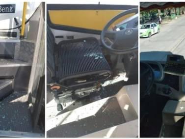 Chofer atropella a un perro y los dueños del can destruyen su bus