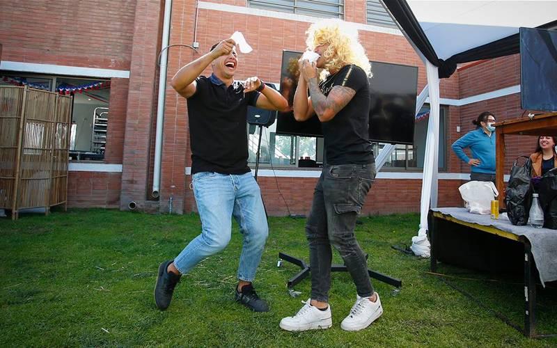 Morales y Parraguez bailando cueca