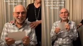 La adorable reacción de hombre de 80 años tras recibir de regalo entradas para ver a Dua Lipa