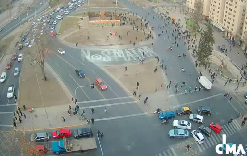 Plaza Baquedano durante una manfestación.