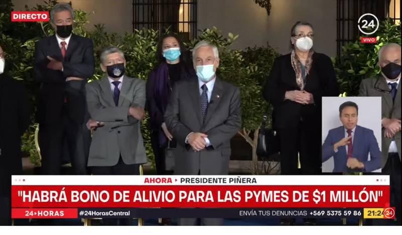 El Presidente Piñera en La Moneda.