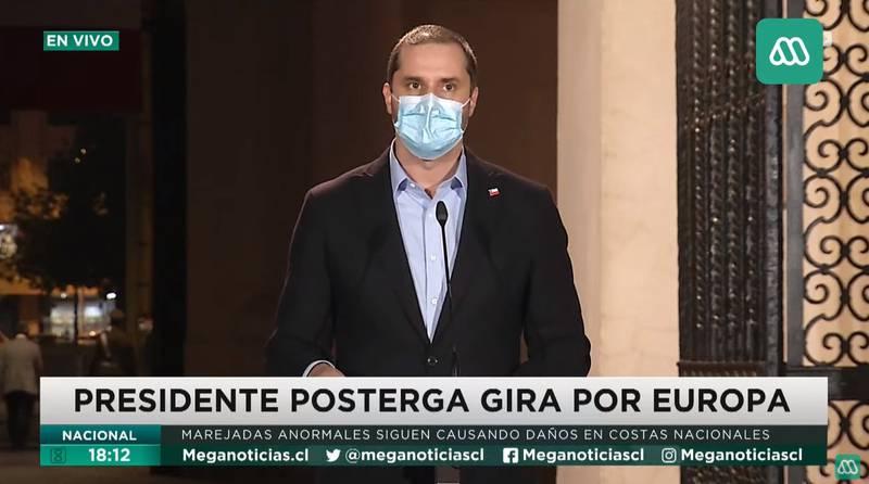 El vocero anuncia que Sebastián Piñera no viajará.